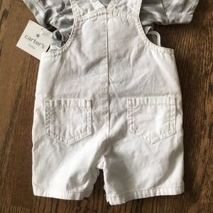 Carter's Matching Sets - White and gray overall set- 3 month